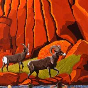 Big horn sheep americas wildlife painting
