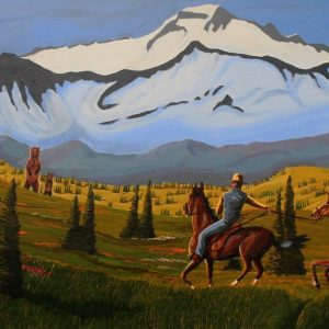 Cowboy and grizzly americas wildlife painting