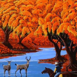 Deer and cowboys americas wildlife painting