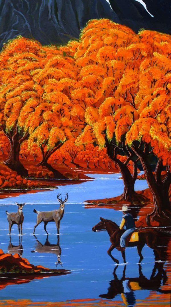 Deer and cowboys americas wildlife painting