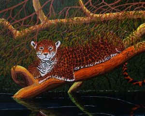 Jaguar americas wildlife painting