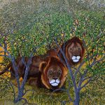 African lions painting