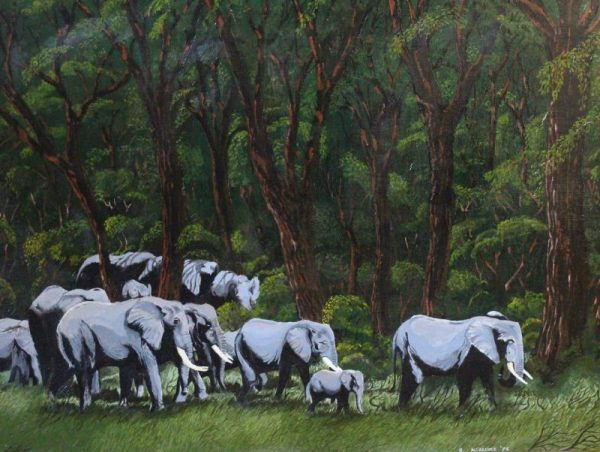 African elephant family painting