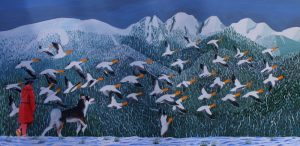 Painting of snow geese taking flight.