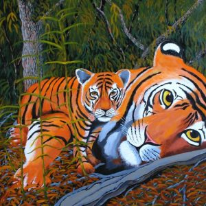 Painting of tiger and her cub.