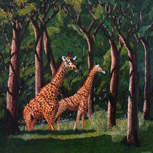 Painting of giraffes in nature's cathedral.