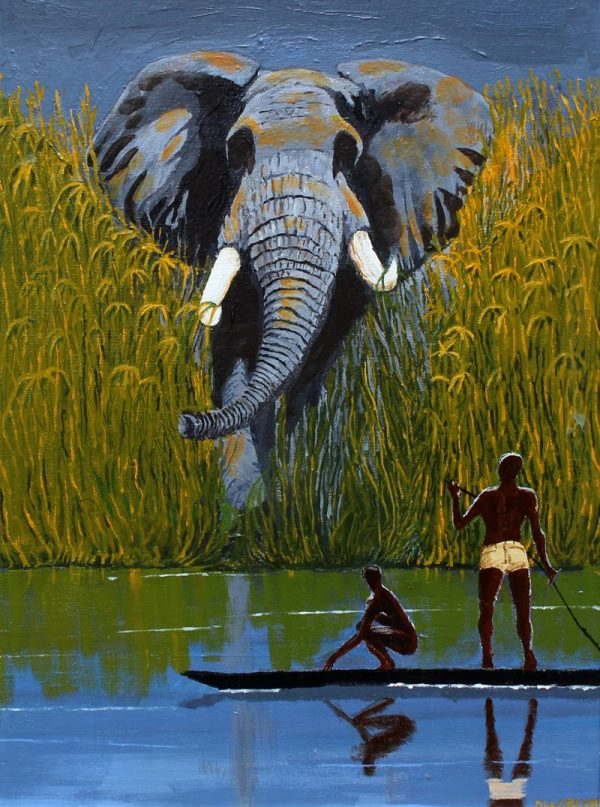 Painting of unexpectedly meeting an African bull elephant