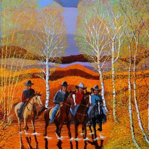 Painting of cowboys coming home from a long day.
