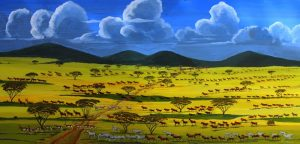 Antelopes African wildlife painting