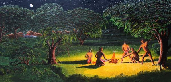 Painting of Home Erectus cooking with fire.