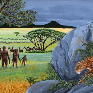 Painting of leopard stalking our ancestors, Homo Erectus, during the Pleistocene period.