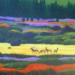Elk grazing at Grand Telon National Park painting.