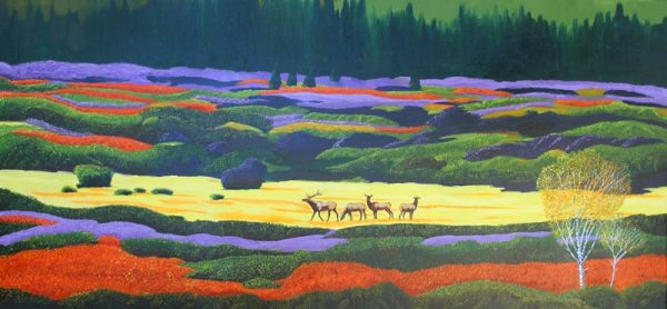 Elk grazing at Grand Telon National Park painting.