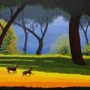 Waterbuck in forest painting