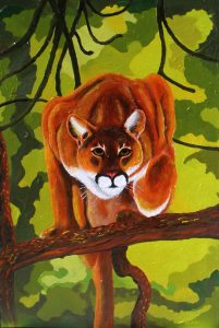 Cougar in Tree Painting