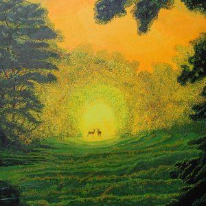 Deer in park painting