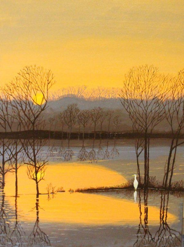 Egret bird at water's edge delta painting