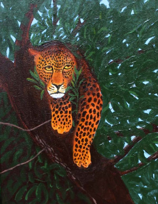 Leopard in tree painting