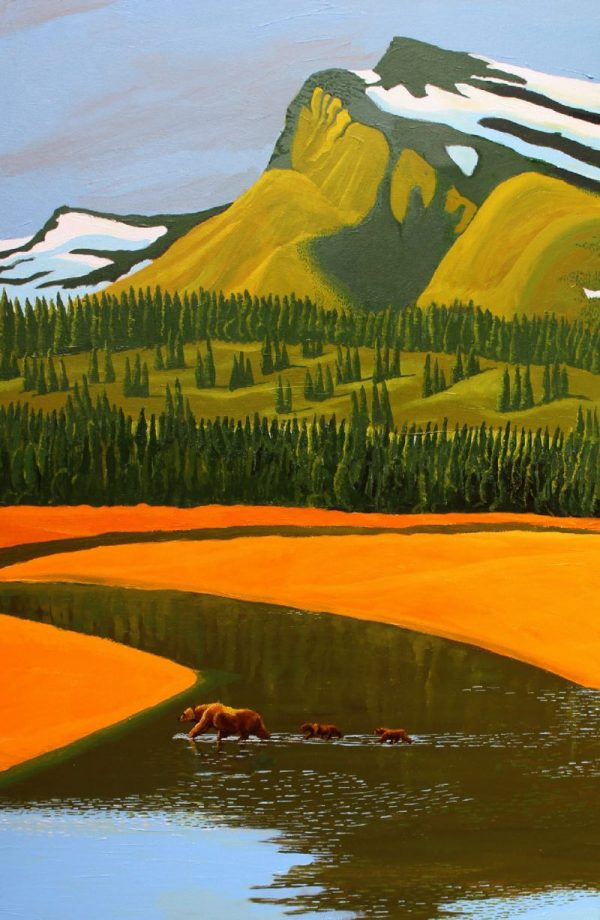 Grizzly bear & 2 cubs crossing river painting.