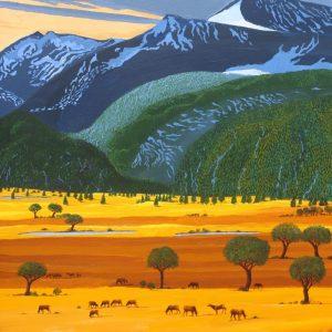 Herd of grazing elk painting