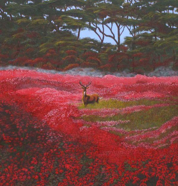 Elk in field of red Azealias painting.