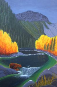 Grizzly and cub fishing for salmon in river painting.