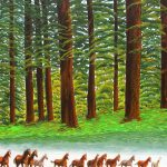 Horses returning to the corral painting.