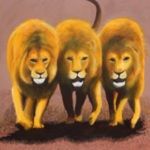 Three lions African wildlife painting