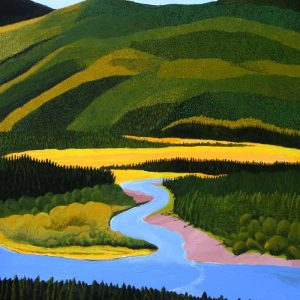 Tributary flowing into Fraser River painting.