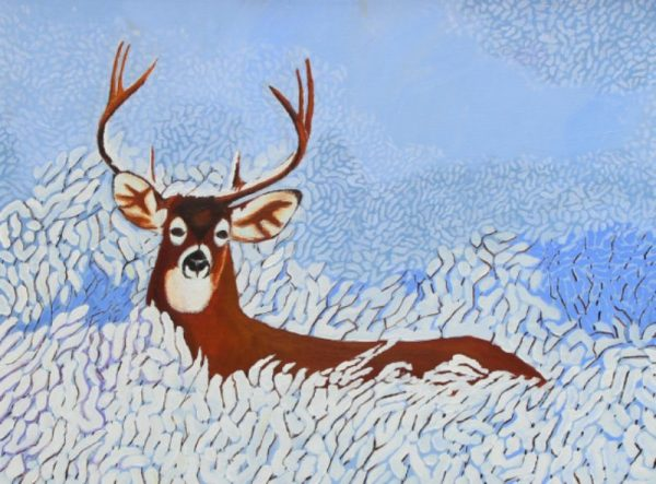 White tailed deer in the snow painting.